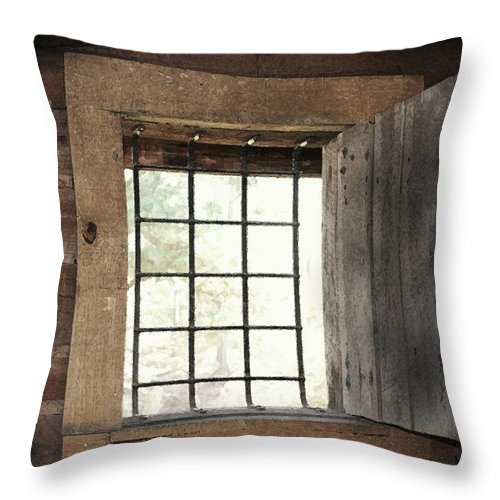 Primitive Photograph Throw Pillow featuring the photograph Blacksmith's View by Kim Henderson