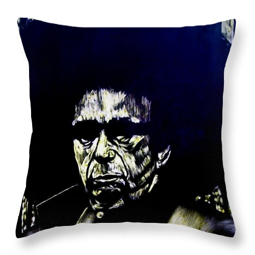 Throw Pillow featuring the mixed media Blacksploitation Witness Protection Program by Chester Elmore
