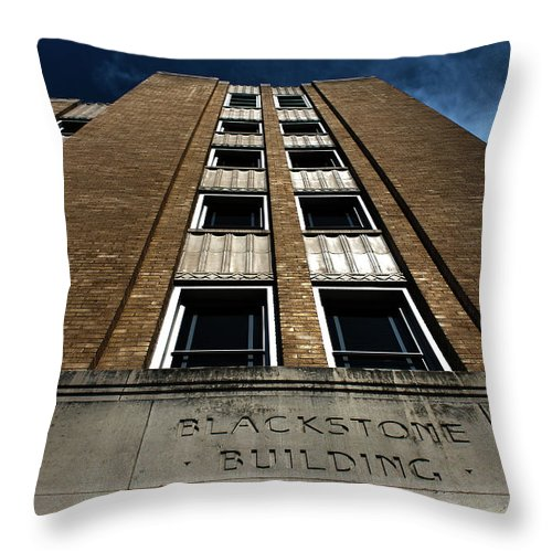 Tyler Texas Throw Pillow featuring the photograph Blackstone Building Downtown Tyler- Color by Eugene Campbell