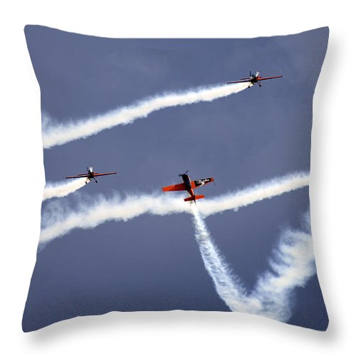 Blades Extra 300 Throw Pillow featuring the photograph Blades by Angel Ciesniarska