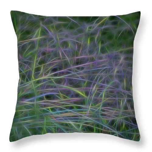 Neon Throw Pillow featuring the photograph Blades Of Color by Carolyn Truchon