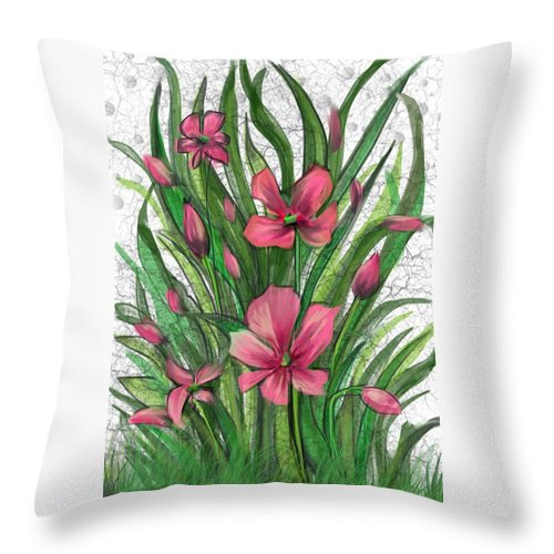 Flowers Throw Pillow featuring the digital art Blades Of Grass by Kathleen Hromada