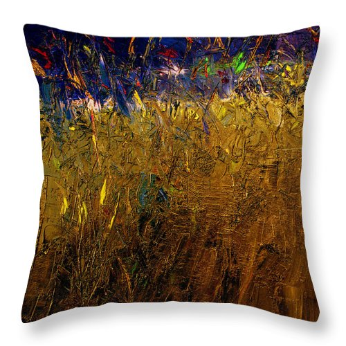 Abstract Throw Pillow featuring the painting Blades Of Grass by Ruth Palmer
