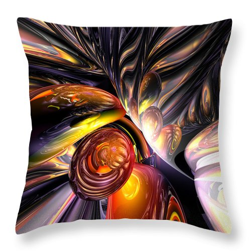 3d Throw Pillow featuring the digital art Blaze Abstract by Alexander Butler