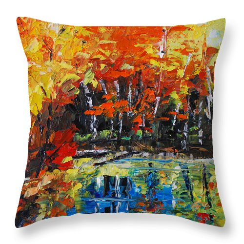 Landscape Throw Pillow featuring the painting Blazing Reflections by Phil Burton