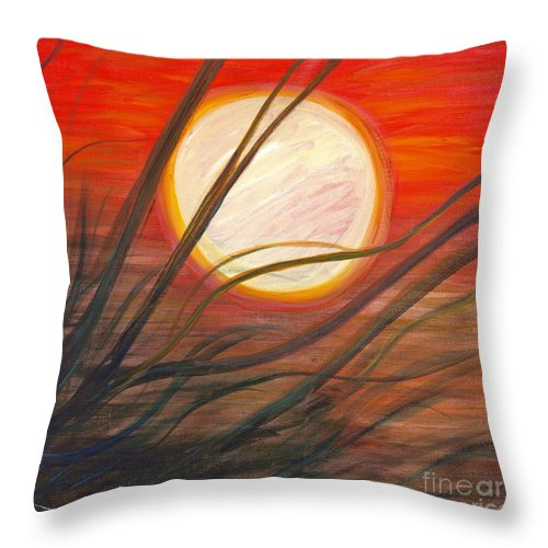 Sunrise Throw Pillow featuring the painting Blazing Sun and Wind-Blown Grasses by Nadine Rippelmeyer