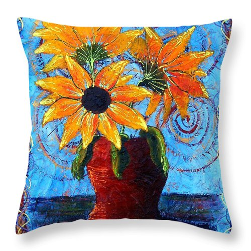 Throw Pillow featuring the painting Blazing Sunflowers by Tami Booher