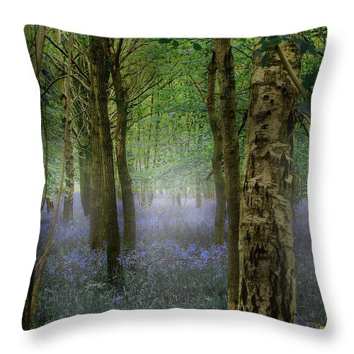 Bluebell Throw Pillow featuring the mixed media Blebells by Mark Hunter