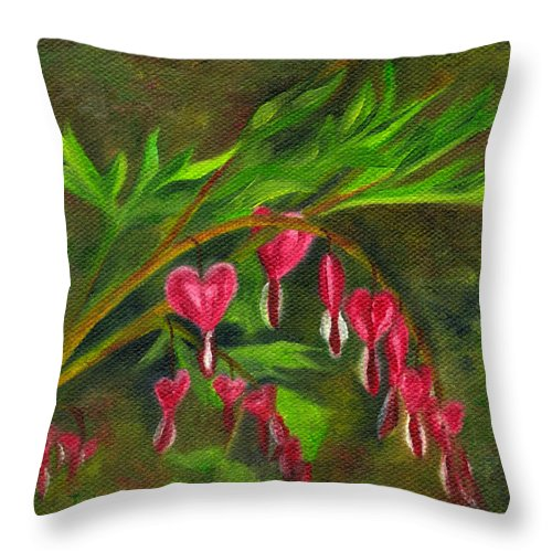 Bleeding Heart Throw Pillow featuring the painting Bleeding Hearts by FT McKinstry