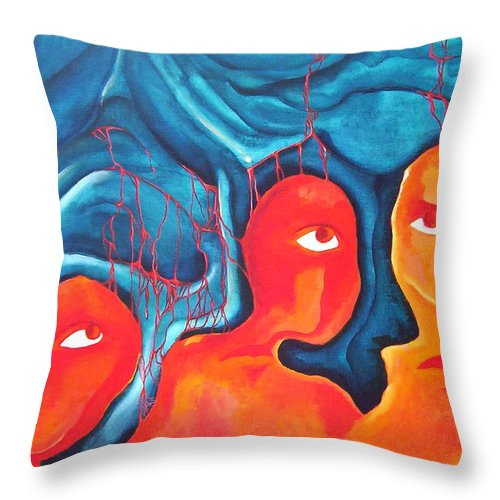 Abstract Eyes People Blood Throw Pillow featuring the painting Bleeding Thoughts by Veronica Jackson