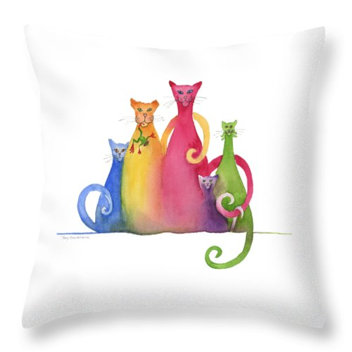 Blended Throw Pillow featuring the painting Blended Family Of Five by Amy Kirkpatrick