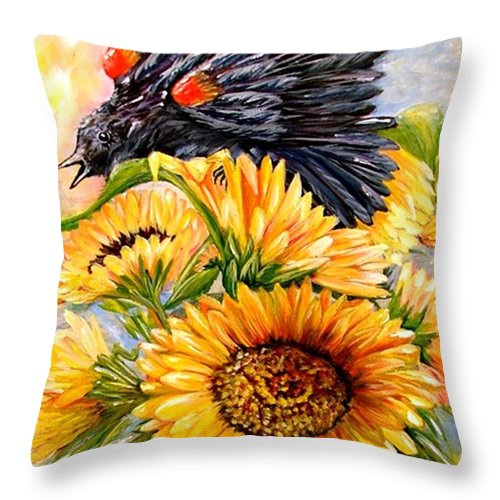 Redwing Throw Pillow featuring the painting Blending In by Carol Allen Anfinsen