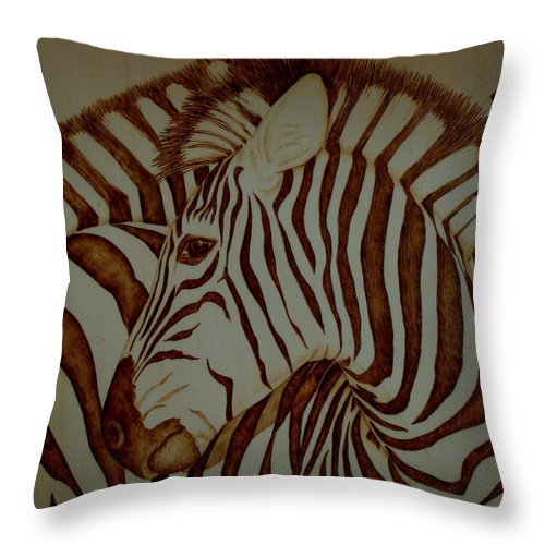 Pyrography; Woodburning; Sepia; Zebra; Stripes; Wild Life; Africa; Horse; Herd; Throw Pillow featuring the pyrography Blending In by Jo Schwartz