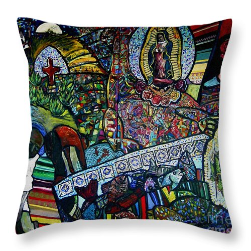 Frida Throw Pillow featuring the painting Blessing Of El Pescadero Mural by Angelina Marino