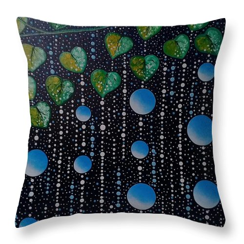 Prayer Throw Pillow featuring the painting Blessing by Quennie Bacol