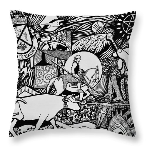 Drawing Throw Pillow featuring the painting Blessing The Cattle In Riachos by Jose Alberto Gomes Pereira