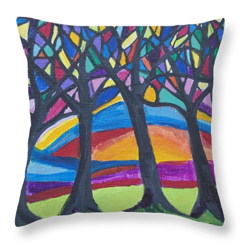Trees Throw Pillow featuring the painting Blessing Trees 3 by Wendy Le Ber