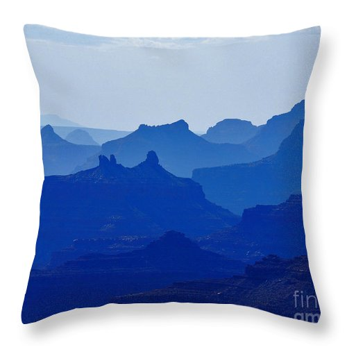Grand Canyon Throw Pillow featuring the photograph Bleu Grand Canyon by Franco Valentini