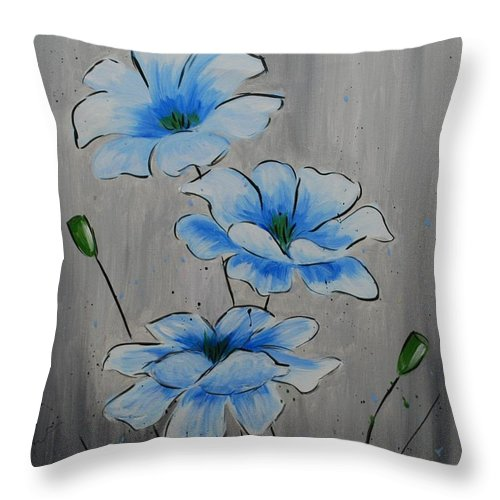 Flower Throw Pillow featuring the painting Bleuming by Emily Page