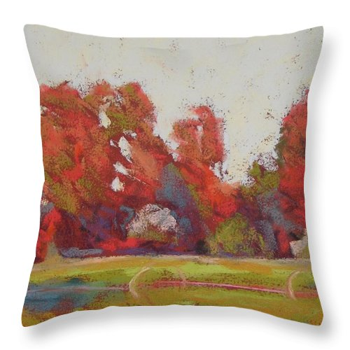 Landscape Throw Pillow featuring the painting Bliss Evening by Mary McInnis