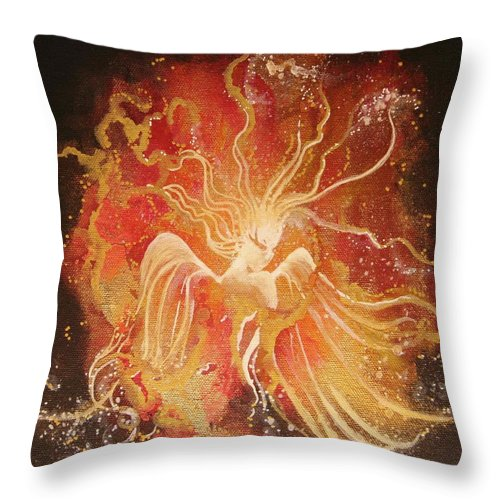 Fire Angel Throw Pillow featuring the painting Blissful Fire Angels by Naomi Walker