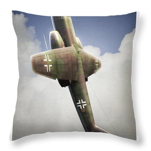 Arado Throw Pillow featuring the digital art Blitz On The Clouds by Gino Marcomini