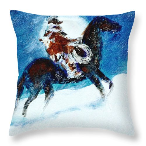 Blizzard Moon Throw Pillow featuring the painting Blizzard Moon-The Last Stray by Seth Weaver