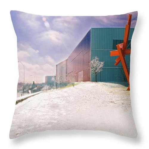 Landscape Throw Pillow featuring the photograph Bloch Building At The Nelson Atkins Museum by Steve Karol