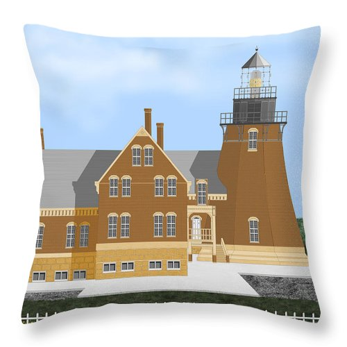 Lighthouse Throw Pillow featuring the painting Block Island South East Rhode Island In Full Color by Anne Norskog