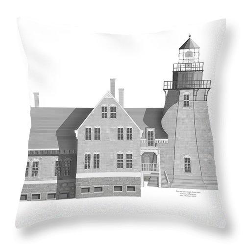 Block Island Rhode Island Throw Pillow featuring the painting Block Island South East Rhode Island by Anne Norskog