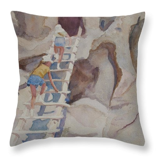 Ladder Throw Pillow featuring the sculpture Blond Indians by Jenny Armitage