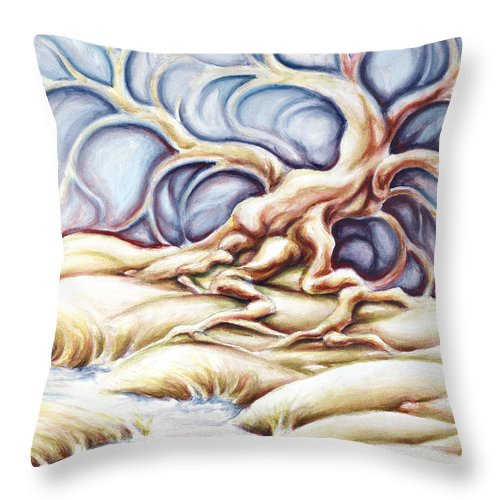 Acrylic Painting Throw Pillow featuring the painting Blonde And Blue by Jennifer McDuffie