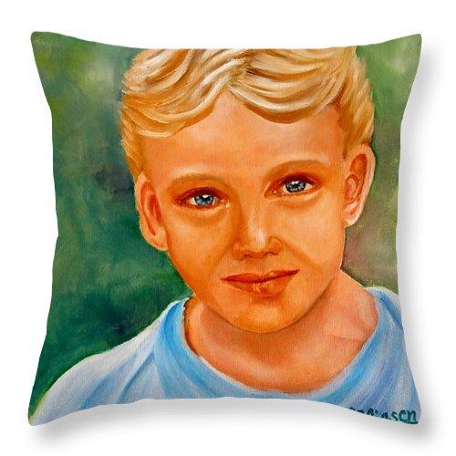 Boy Throw Pillow featuring the painting Blonde Boy by Carol Allen Anfinsen