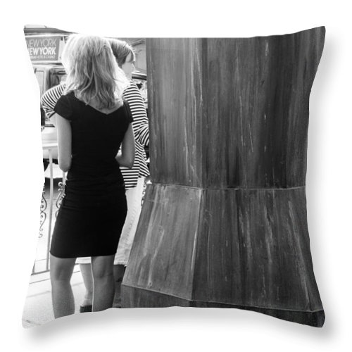 Fremont Street Experience Throw Pillow featuring the photograph Blonde Waiting For Taxi by SR Green