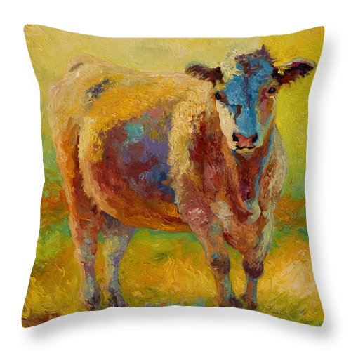 Western Throw Pillow featuring the painting Blondie - Cow by Marion Rose
