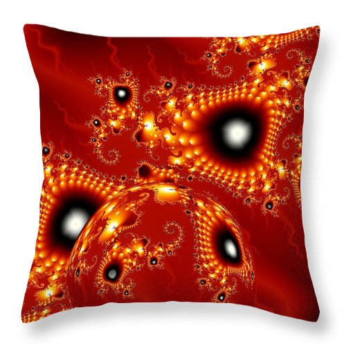 Fractal Passion Love Red Sphere Throw Pillow featuring the digital art Blood In Love by Veronica Jackson