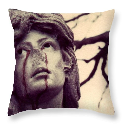 Polaroid Throw Pillow featuring the photograph Blood Is The New Black by Jane Linders