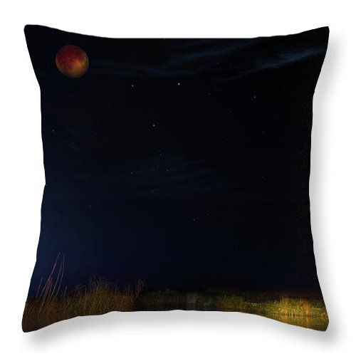 Eclipse Throw Pillow featuring the photograph Blood Moon Country by Mark Andrew Thomas
