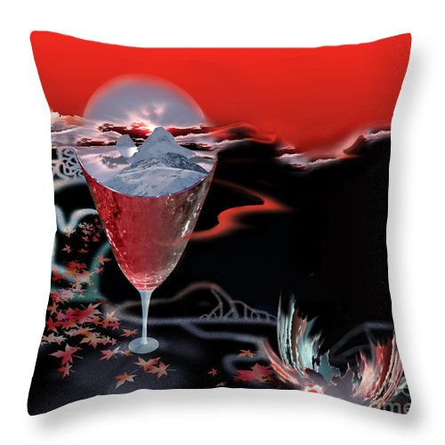 Blood Throw Pillow featuring the digital art Blood Red From Pure White by Jennifer Kathleen Phillips