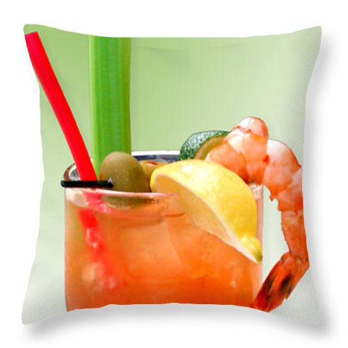 Drinks Throw Pillow featuring the photograph Bloody Mary Hand-crafted by Christine Till