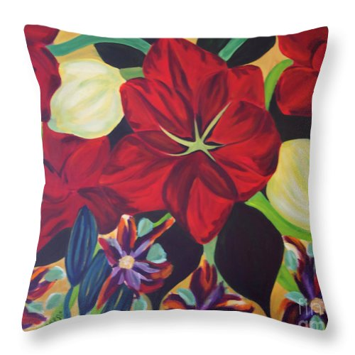 #flower Throw Pillow featuring the painting Bloom by Jacquelinemari