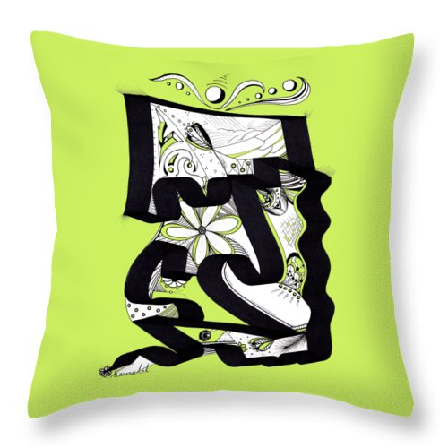 Pattern Throw Pillow featuring the drawing Bloom by Karen Renee