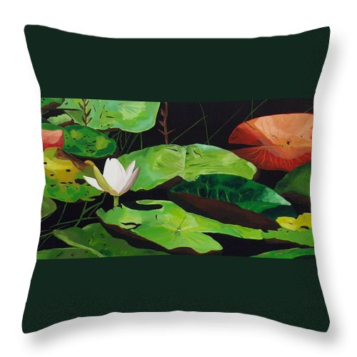 Lily Pad Throw Pillow featuring the painting Bloom by Racquel Morgan