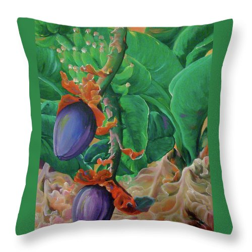 Bananas Throw Pillow featuring the painting Bloomin' Bananas by Patti Lane