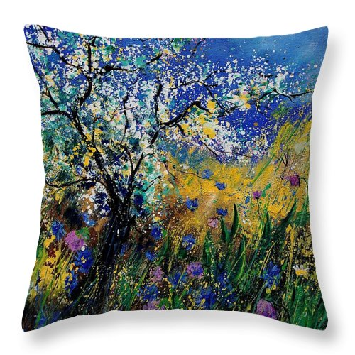 Spring Throw Pillow featuring the painting Blooming Appletree by Pol Ledent