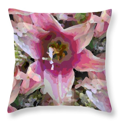 Throw Pillow featuring the digital art Blooming Beauty by Tim Allen