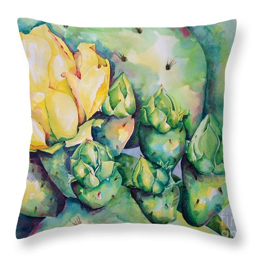 Desert Flowers Throw Pillow featuring the painting Blooming Cactus by Kandyce Waltensperger