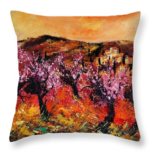 Provence Cherrytree Summer Spring Throw Pillow featuring the painting Blooming Cherry Trees by Pol Ledent
