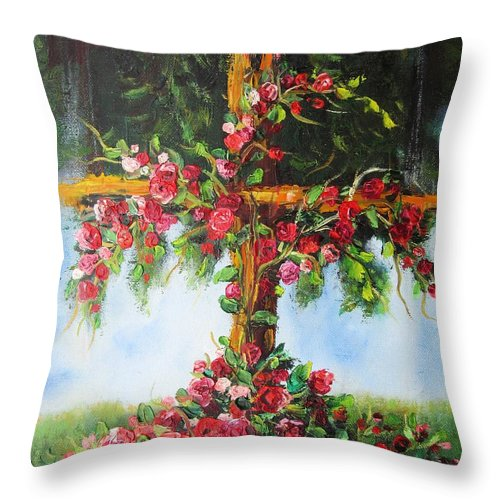Cross Throw Pillow featuring the painting Blooming Cross by Vesna Martinjak