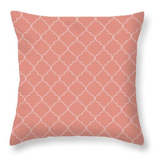 Quatrefoil Throw Pillow featuring the digital art Blooming Dahlia Quatrefoil by Ashley Wann